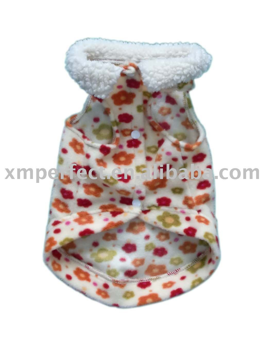 pink pattern fleece dog coat with sherpa fleece collar
