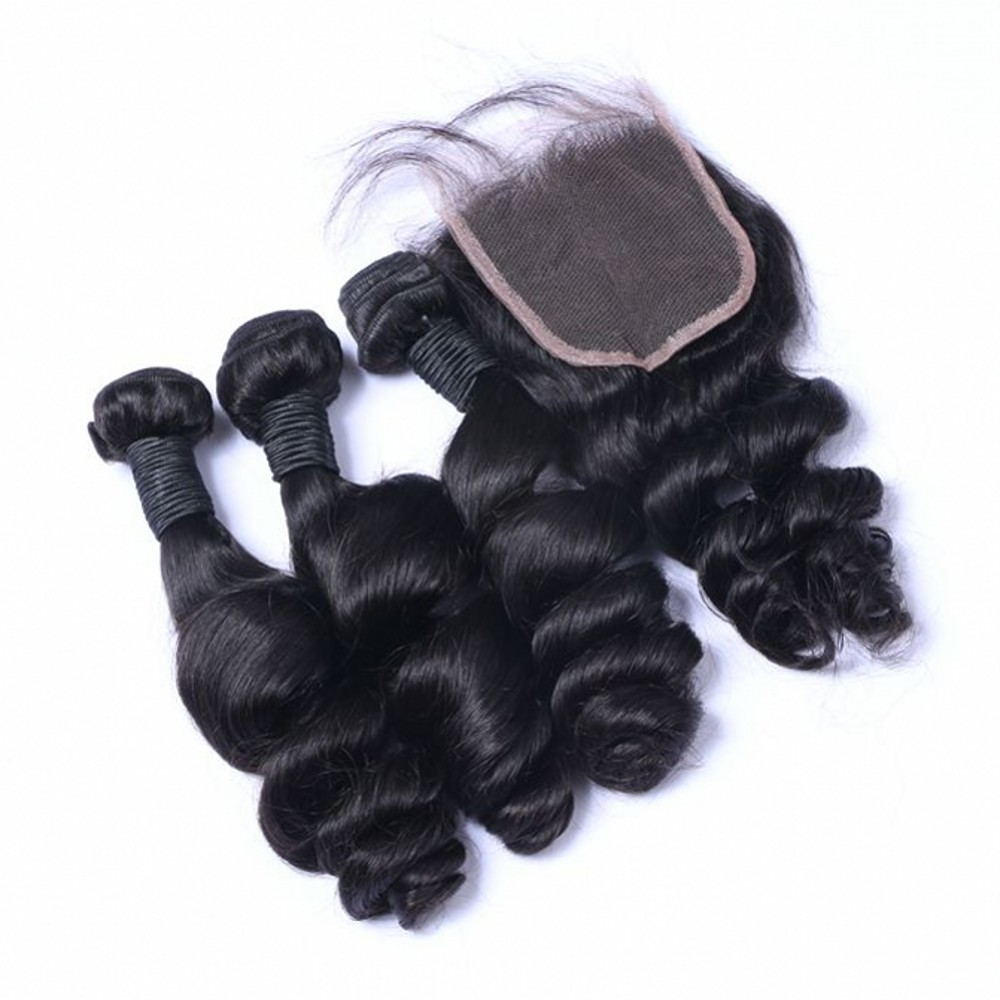 Peruvian Hair with Lace Closure Loose Wave Hair <strong>Weaves</strong> with Lace Closure 3 Bundles Hair Weft with Closures