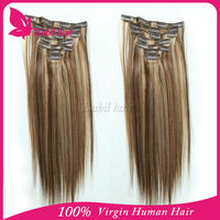 artificial vagina double weft clip in human hair extensions brown blonde mix