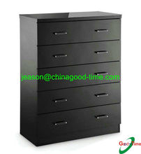KD black color wooden round drawer chest