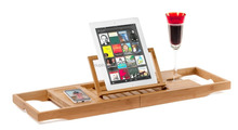 Bamboo Bathtub Caddy Tray Organizer With Book, Tablet, Phone, Wineglass Holder