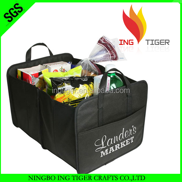 2016 Eco Friendly Customized Logo Non Woven shopping cart bag with compartments