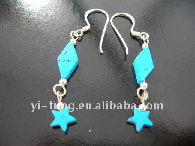 Turquoise gemstones in star and diamond shape dangling from high quality 925 sterling silver fish hook earrings