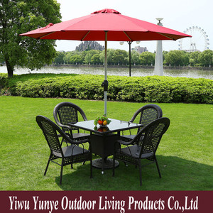 Best quality outdoor furniture rattan wicker coffee bar cafe table bar chair set round glass table top 3 pcs 5 pcs 7 pcs factory