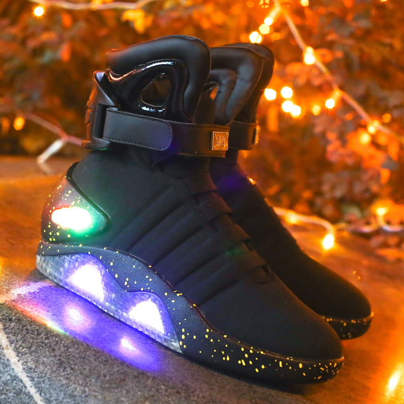 2016 hot sale fashion ultra light led shoes with advanced elastic cloth high-cut led shoes USB charging Flashing led shoes