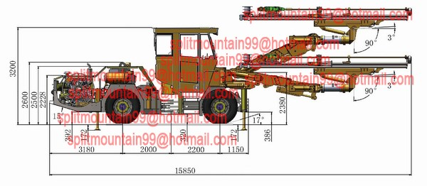 Two boom electro hydraulic face jumbo drilling rig full automatic parallelism 360-degree rotation feed coverage 163.2m2
