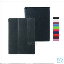 Litchi grain PU leather tablet sleeve 3 floding flip case for ipad plus smart cover