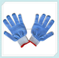 2014 adto group Natural white pvc dot cotton safety glove for working