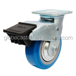 6inch, 150mm blue PU Swivel ball bearing industrial locking caster wheels and zinc plated bracket