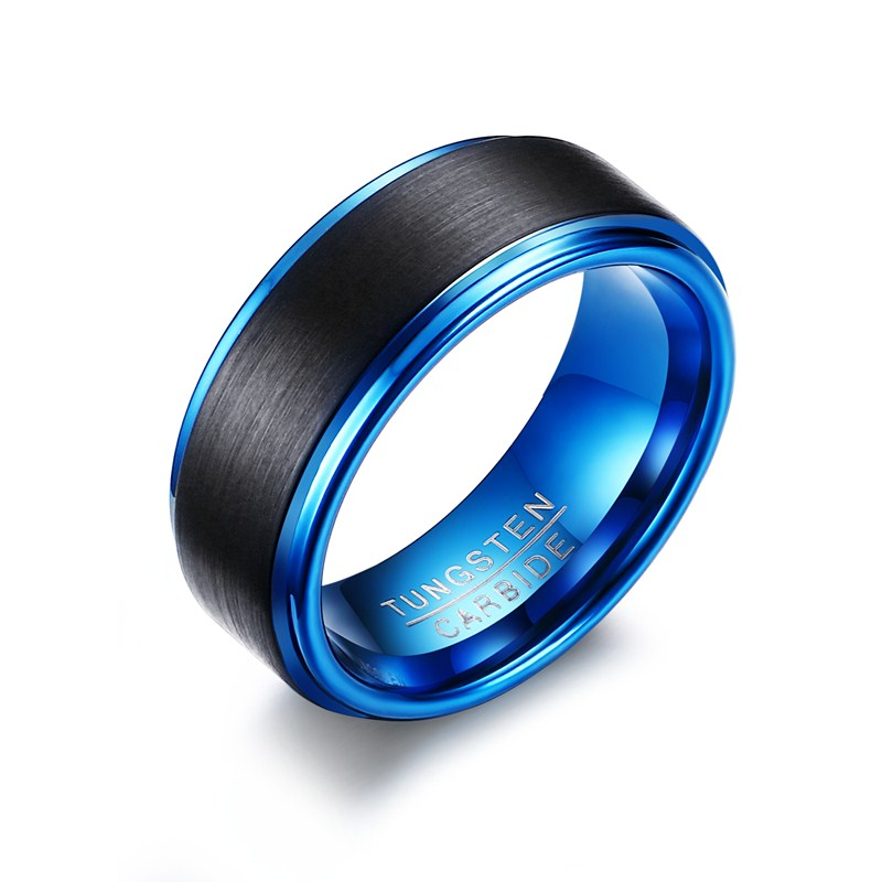 Zhongzhe Jewelry 8MM Wedding Blue Tungsten Ring For Men