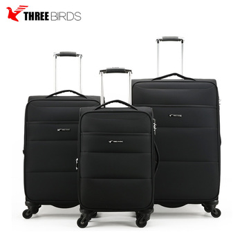 Three Birds Aluminum Trolley Travel Fabric Luggage Bags For Businessmen