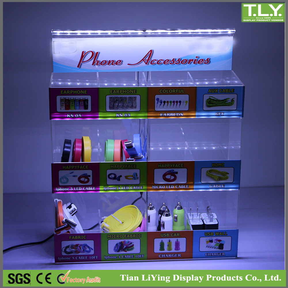 Acrylic Mobile Phone Accessories Counter Display With Led Lights ...
