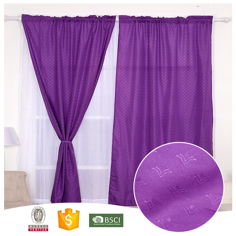 2 PCS Design Classic Purple Jacquard Curtain for Living Room