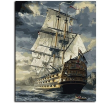 Hot Selling Framed Sailing Boat DIY Oil Painting By Numbers Kit Paint On Canvas Home Wall Art Picture
