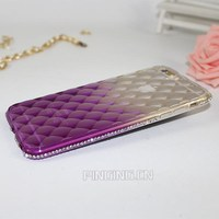 Luxury Rhombus Lambskin Gradient Diamond Case For iphone 6 6S 6Plus 6SPlus Rhinestone Cell Phone Cover