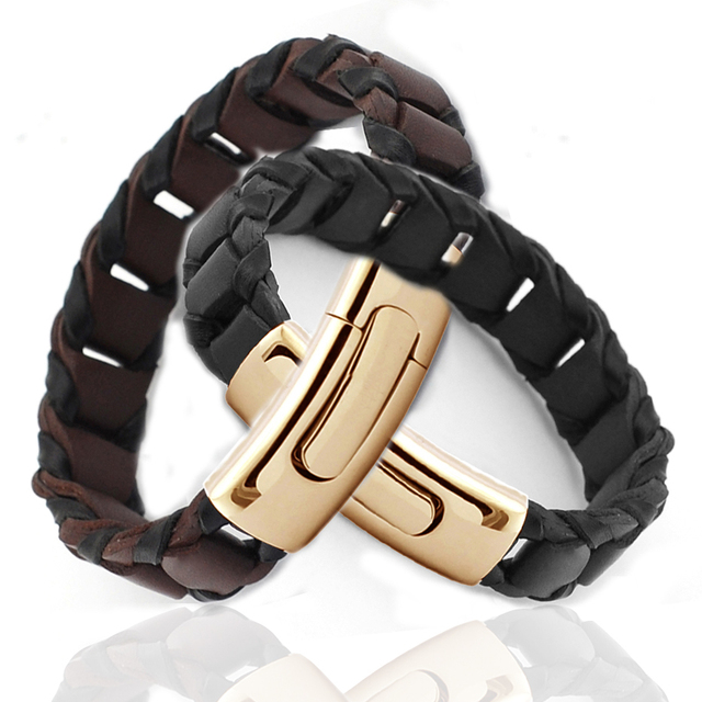 Gold Plated Stainless Steel Mens Leather Braided Bracelet