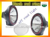 9'' 75w hid off road light , hid spot light red ring with protect cover