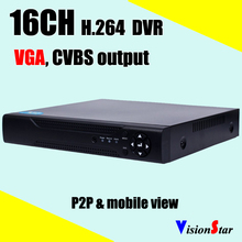 16ch H.264 Full D1 real time standalone digital video recorder support IE Mobile P2P remote view PTZ control motion detection