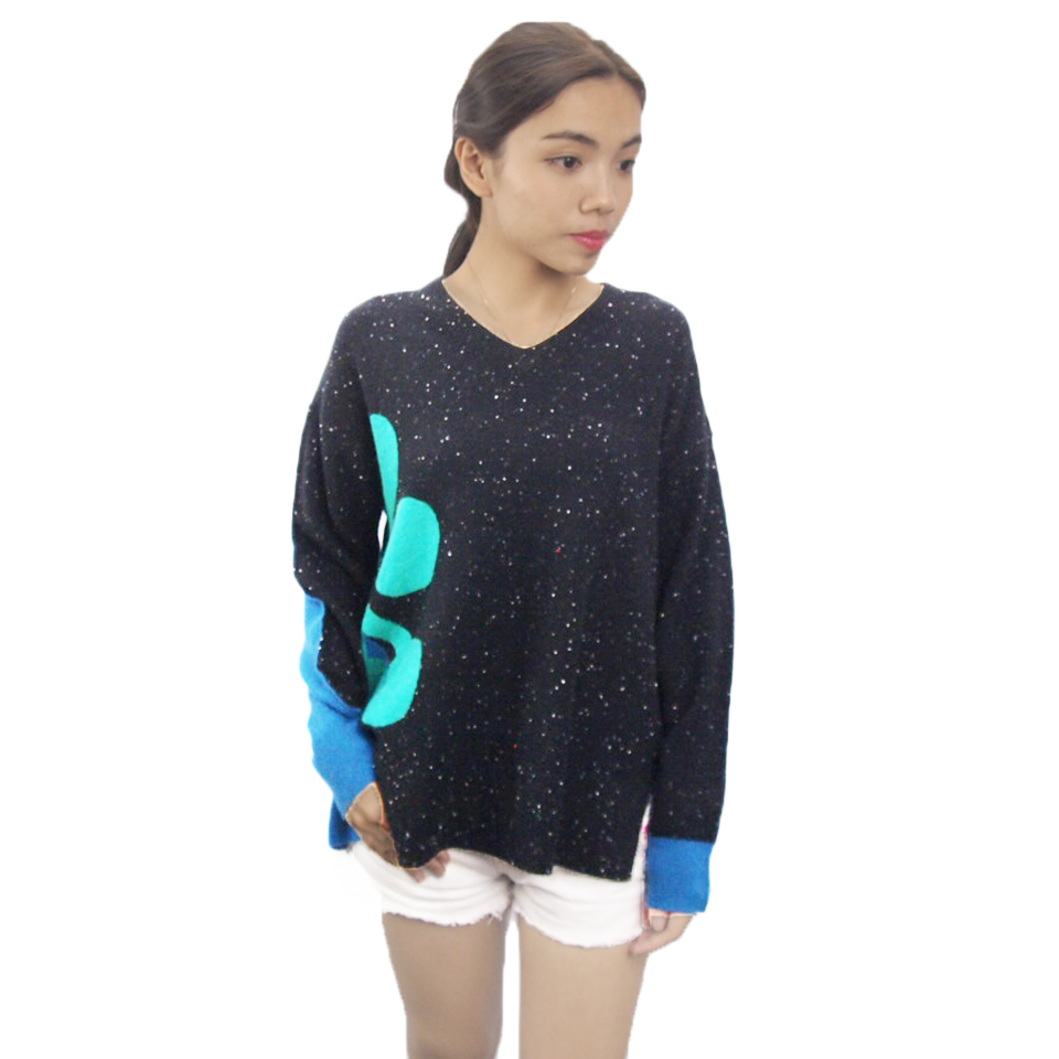 LADIES' FANCY DESIGN WINTER PULLOVER 100%CASHMERE WOOL KNIT SWEATER WITH GARMENT MANUFACTURE IN HIGH QUALITY