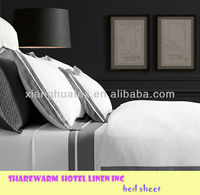 hotel bed sheets / flat sheet / satin strip white bedding sets