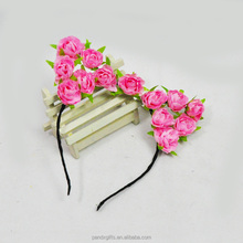 Holiday Pink Rose Flowers Beautifull Cat Ear Cosplay Princess Headband