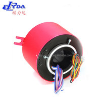 6 wires rotating connector through hole slip ring