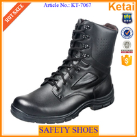Black smooth genuine leather patent leather military boots