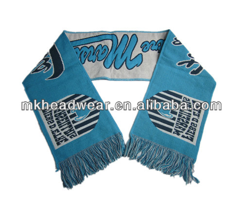 High quality winter soccer fashion cheap acrylic fabric knitted football team scarf