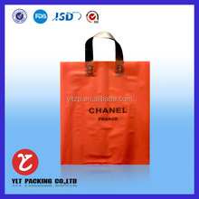 No.1223 orange custom printed ldpe plastic die cut shopping bags with handle