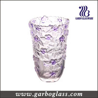 purple rose engraved large size decorate glass vase,cheap glass floor vase
