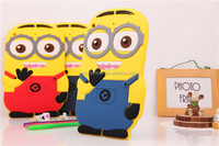 Lovely soft silicone case for ipad5, for ipad air cute 3d minion rubber case