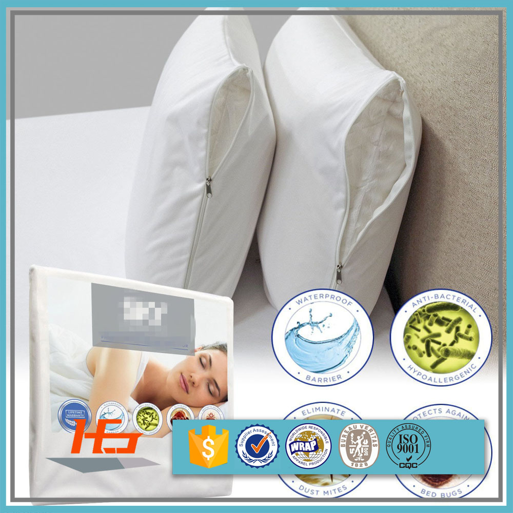 Soft white Polyester Microfiber Waterproof Pillow Cover / Pillow Protector For Home/Hotel