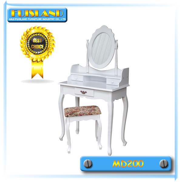 Bedroom furniture white wooden dresser /dressing table with mirror and stool