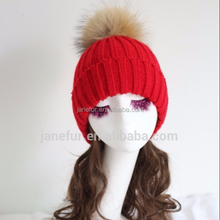 Red sexy ladies' ski warm hat cap/ decorative fur ball hats/ collapsible raccoon fur hats caps