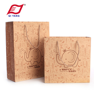 Custom Eco High Quality Kraft Paper Shopping Bag Baby Gift bags With Hemp Rope Handle