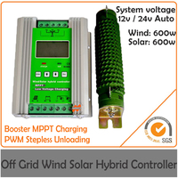 Advanced 1200w 12/24V 100A Max Off Grid Intelligent MPPT Wind Solar Hybrid Charge Controller with LCD display and dump load