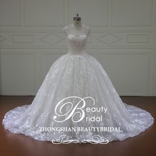 XF16086 ball gown wedding dress in dubai muslim bridal wedding dress with chapel train
