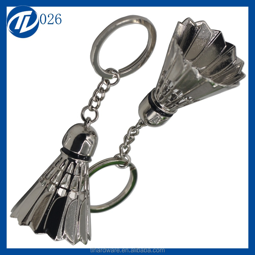 OEM zinc alloy stamping badminton keychain