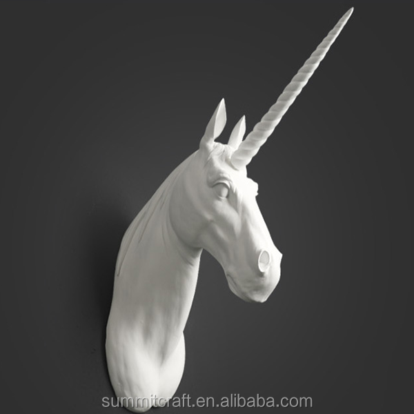 Wholesale wall decor resin white unicorn wall head
