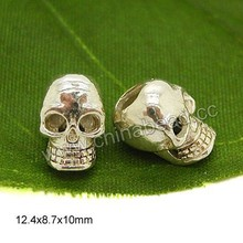 European metal beads charm 925 sterling silver skull charm beads