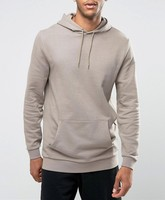 AHD068 quality control OEM service cheap wholesale man's plain Longline Slim Fit Hoodie made in china