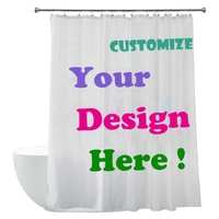 Dongguan Factory Personalised Custom Design Digital Print Polyester Fabric Shower Curtains with Lead Weight Bottom