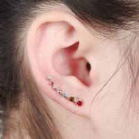 High Class Multicolor Crystal Rhinestone Simple Design Ear Cuff Clip Decorative Earrings For Women