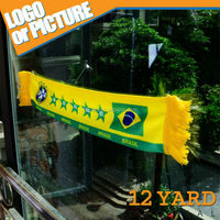 hot selling 2014 Brasil World Cup Brazil Fans knitted soccer scarf car mini scarf&banner