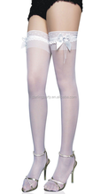 White Bow Thigh High Bridal Stockings for wedding