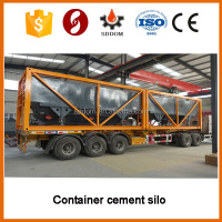 Container horizontal cement silo,load on container truck cement silo price
