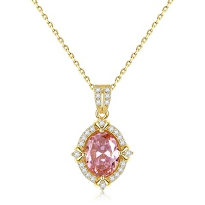 CZCITY New Luxury 925 Sterling Silver 18K Gold Plated Topaz Gemstone Jewelry Necklace