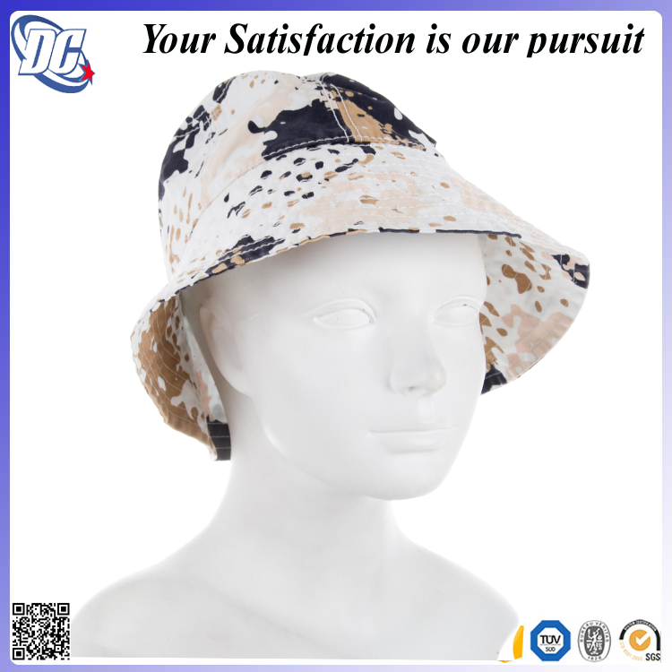 High quality cotton Distressed blue camo wholesale bucket hat