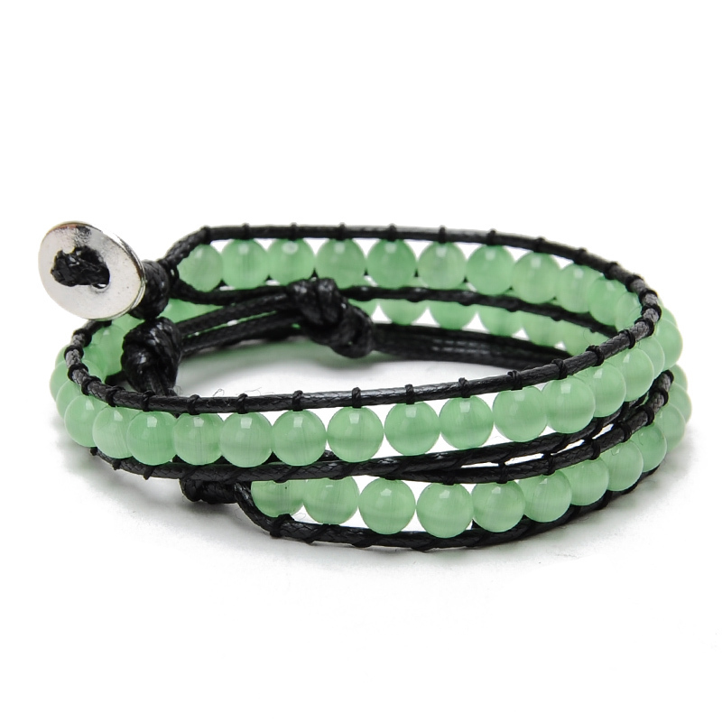 2015 New Summer Style Bohemia Green Opal Beads Leather Multilayers Bracelet & Bangle for Women Men Handmade Bracelets Jewelry