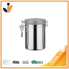 Oggi Stainless Steel Clamp Canister Set with Clear Lid